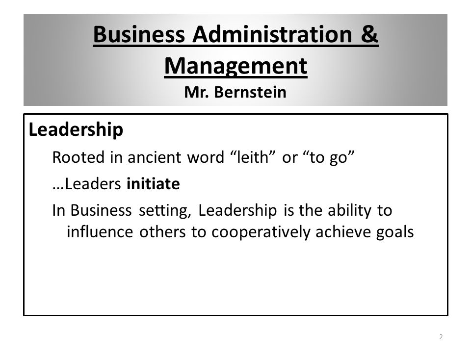 Business Administration & Management Mr.