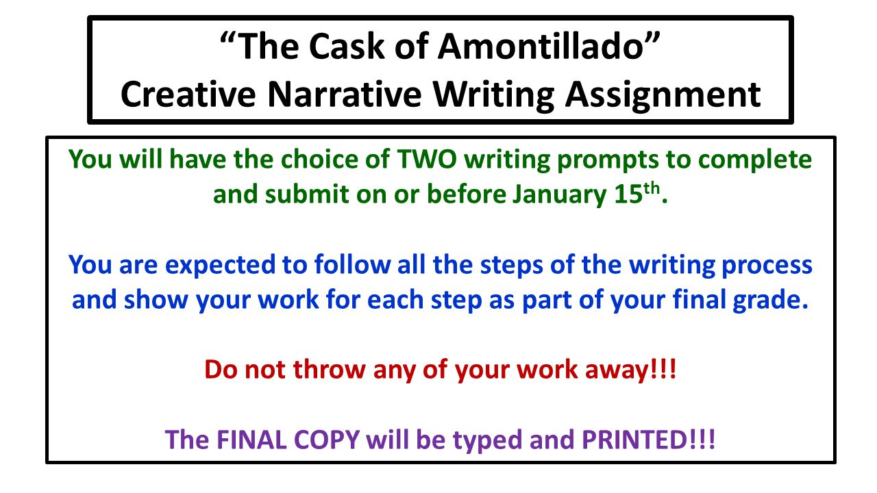 Creative writing leeds met the cask of amontillado essay prompts Cask of amontillado theme essay conclusion!