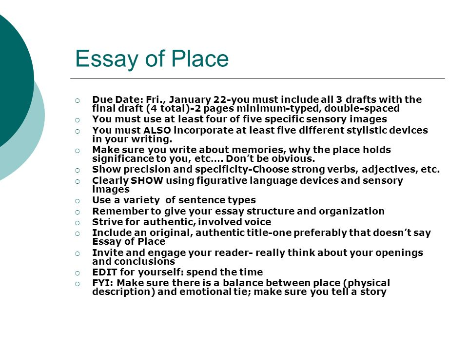essays that describe a place Describe a place essays: over 180,000 describe a place essays, describe a place term papers, describe a place research paper, book reports 184 990 essays, term and research papers available for unlimited access.