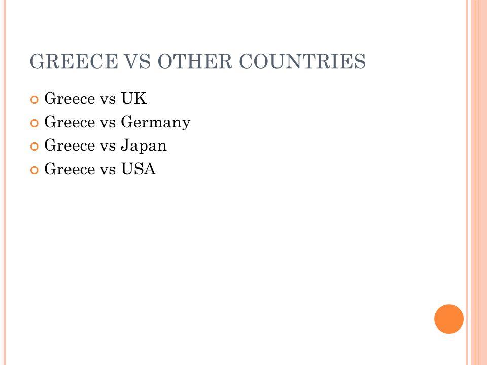 GREECE VS OTHER COUNTRIES Greece vs UK Greece vs Germany Greece vs Japan Greece vs USA