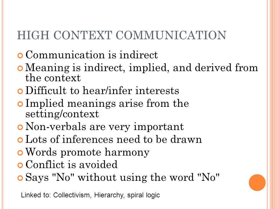 HIGH CONTEXT COMMUNICATION Communication is indirect Meaning is indirect, implied, and derived from the context Difficult to hear/infer interests Implied meanings arise from the setting/context Non-verbals are very important Lots of inferences need to be drawn Words promote harmony Conflict is avoided Says No without using the word No Linked to: Collectivism, Hierarchy, spiral logic