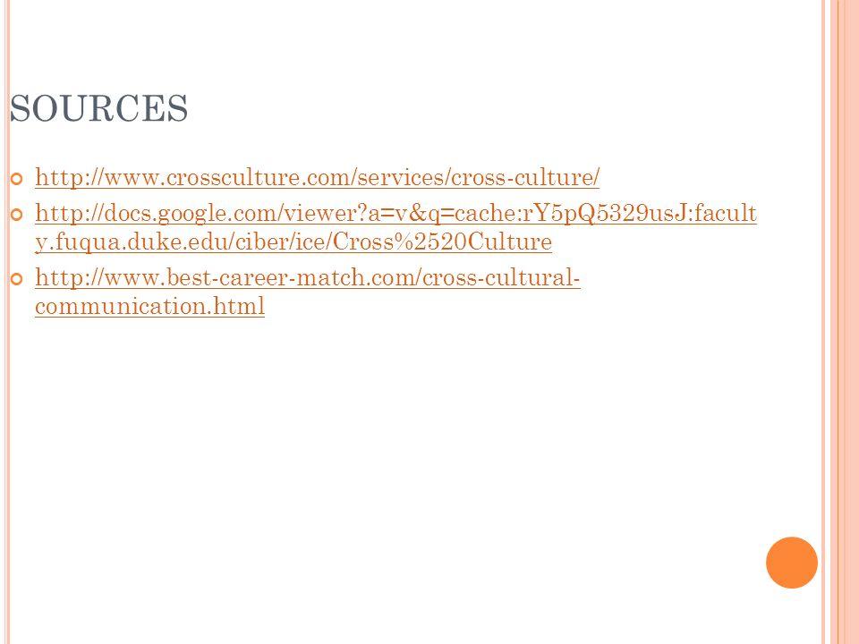 SOURCES http://www.crossculture.com/services/cross-culture/ http://docs.google.com/viewer a=v&q=cache:rY5pQ5329usJ:facult y.fuqua.duke.edu/ciber/ice/Cross%2520Culture http://www.best-career-match.com/cross-cultural- communication.html