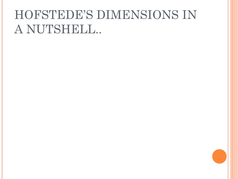 HOFSTEDE'S DIMENSIONS IN A NUTSHELL..