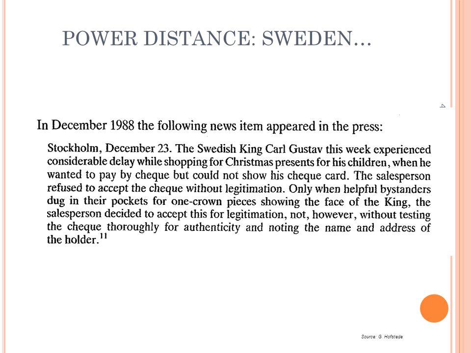POWER DISTANCE: SWEDEN… 43 Source: G. Hofstede
