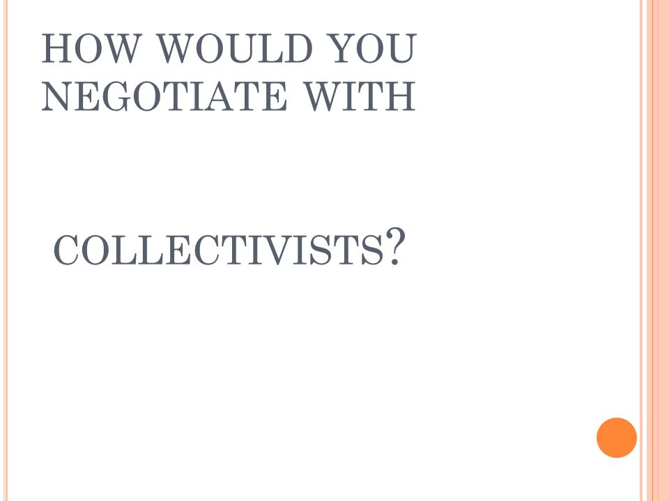 HOW WOULD YOU NEGOTIATE WITH COLLECTIVISTS