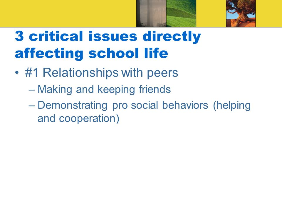 3 critical issues directly affecting school life #1 Relationships with peers –Making and keeping friends –Demonstrating pro social behaviors (helping and cooperation)