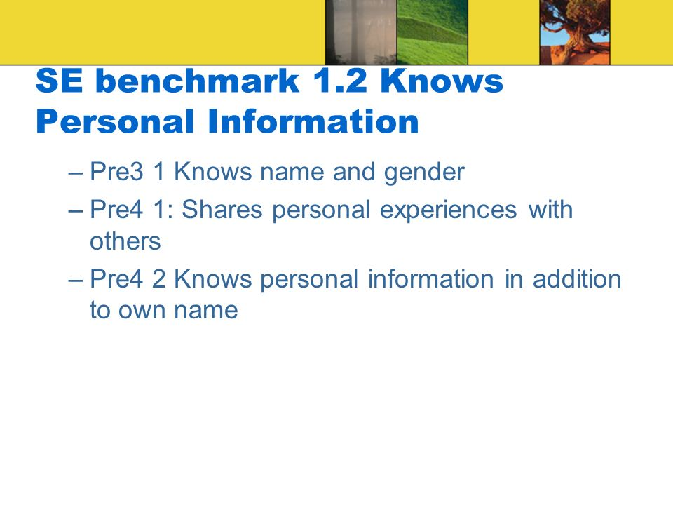 SE benchmark 1.2 Knows Personal Information –Pre3 1 Knows name and gender –Pre4 1: Shares personal experiences with others –Pre4 2 Knows personal information in addition to own name