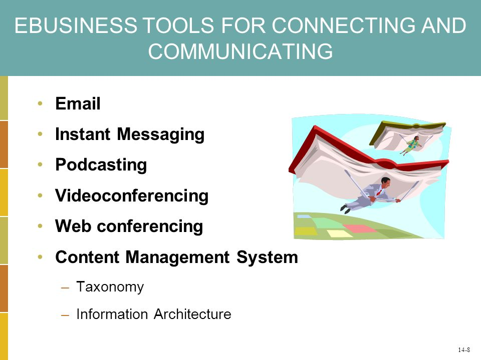 EBUSINESS TOOLS FOR CONNECTING AND COMMUNICATING Email Instant Messaging Podcasting Videoconferencing Web conferencing Content Management System –Taxonomy –Information Architecture 14-8