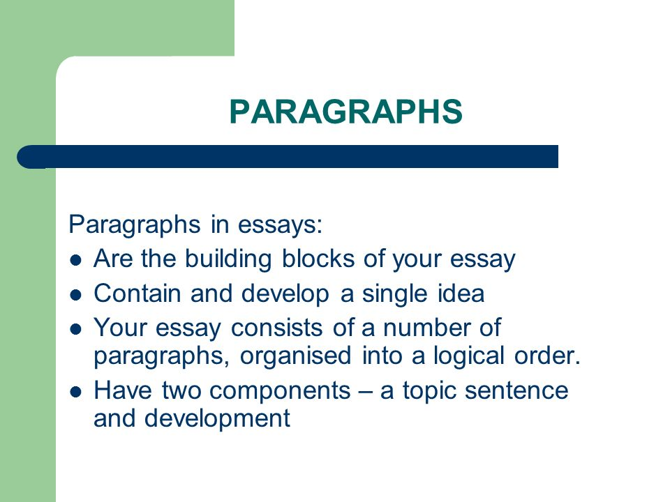 essay number of paragraphs The proviso about the number of sentences between the topic sentence and the conclusion was not given to you because it was the magic formula for creating paragraphs of the perfect length rather, your educator was attempting to give you a good reason to do adequate research on your topic.