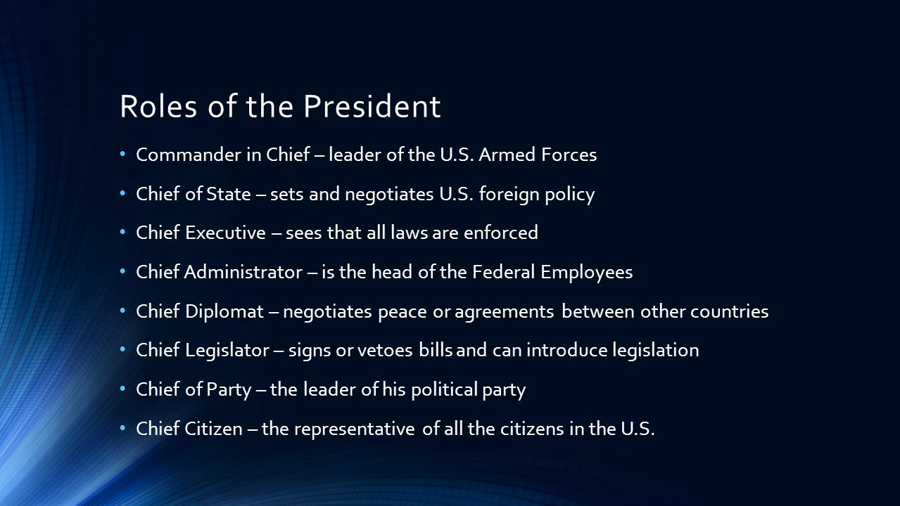 The President of the United States of America THE EXECUTIVE BRANCH ...