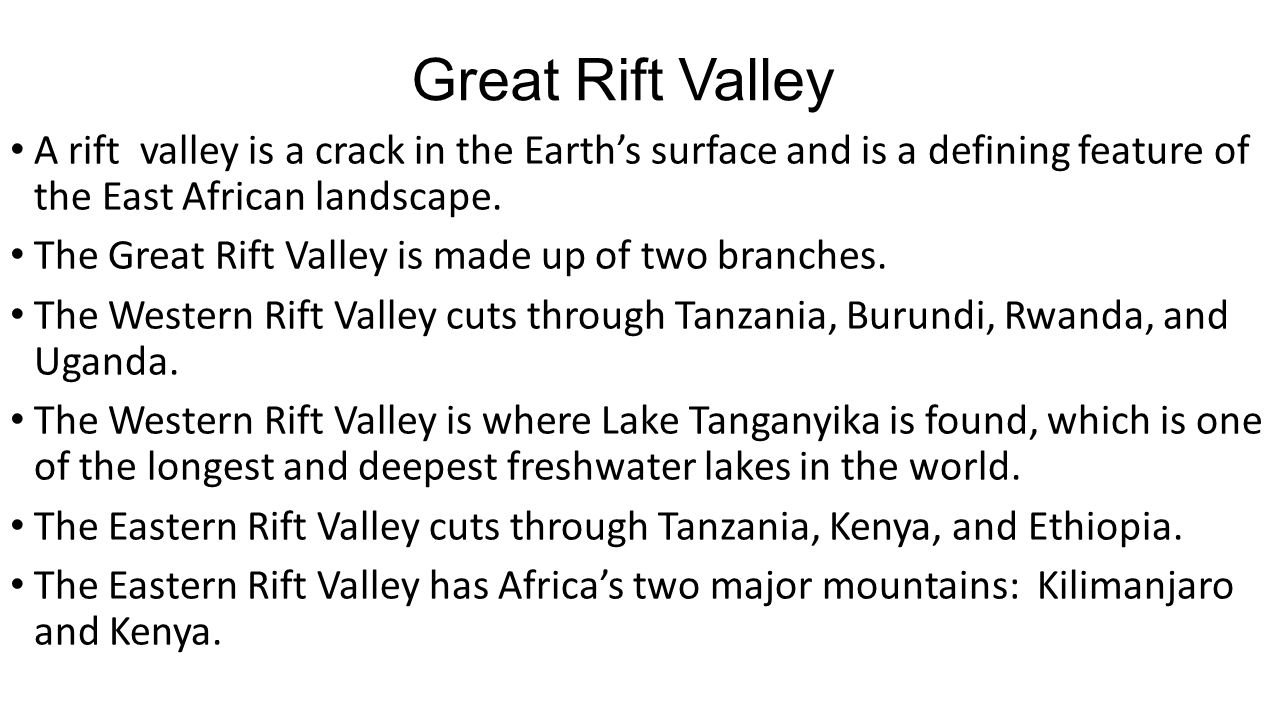 Chapter 21 east africa the great rift valley great rift valley a rift valley is a crack in the earths surface and is a defining feature of sciox Gallery