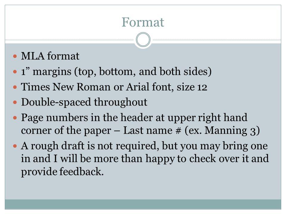 mla format research paper margins