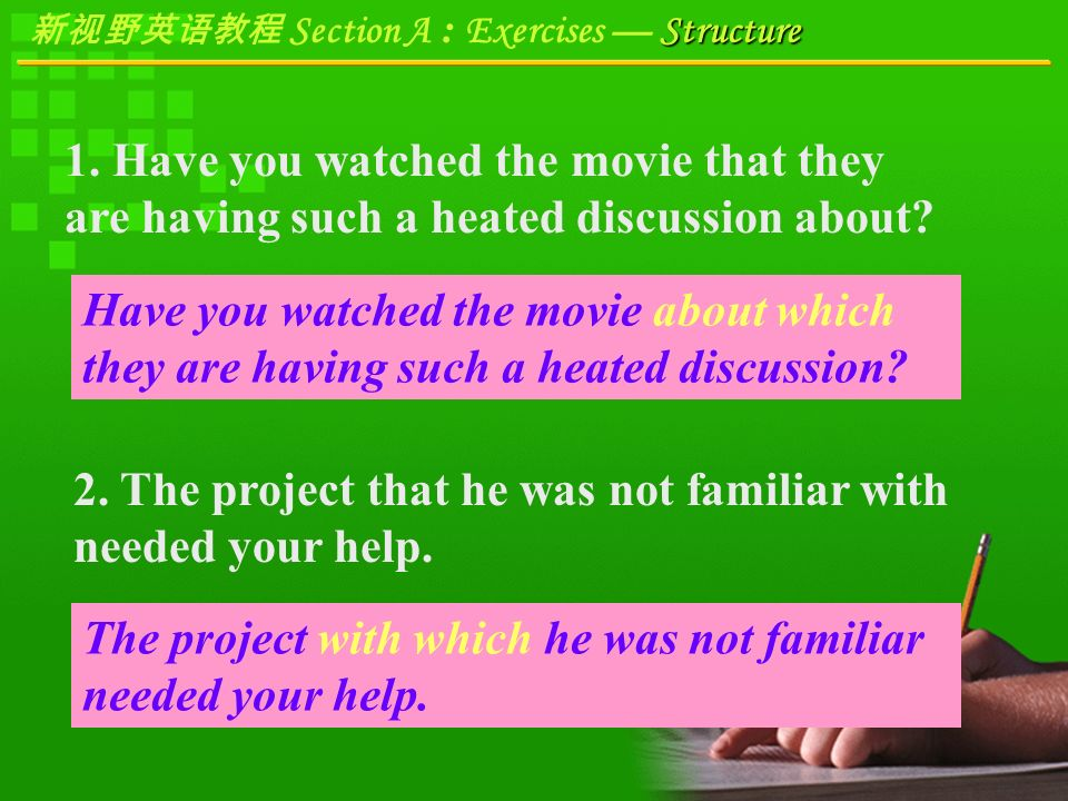 Structure 新视野英语教程 Section A : Exercises — Structure Focus on Sentence Structure A.