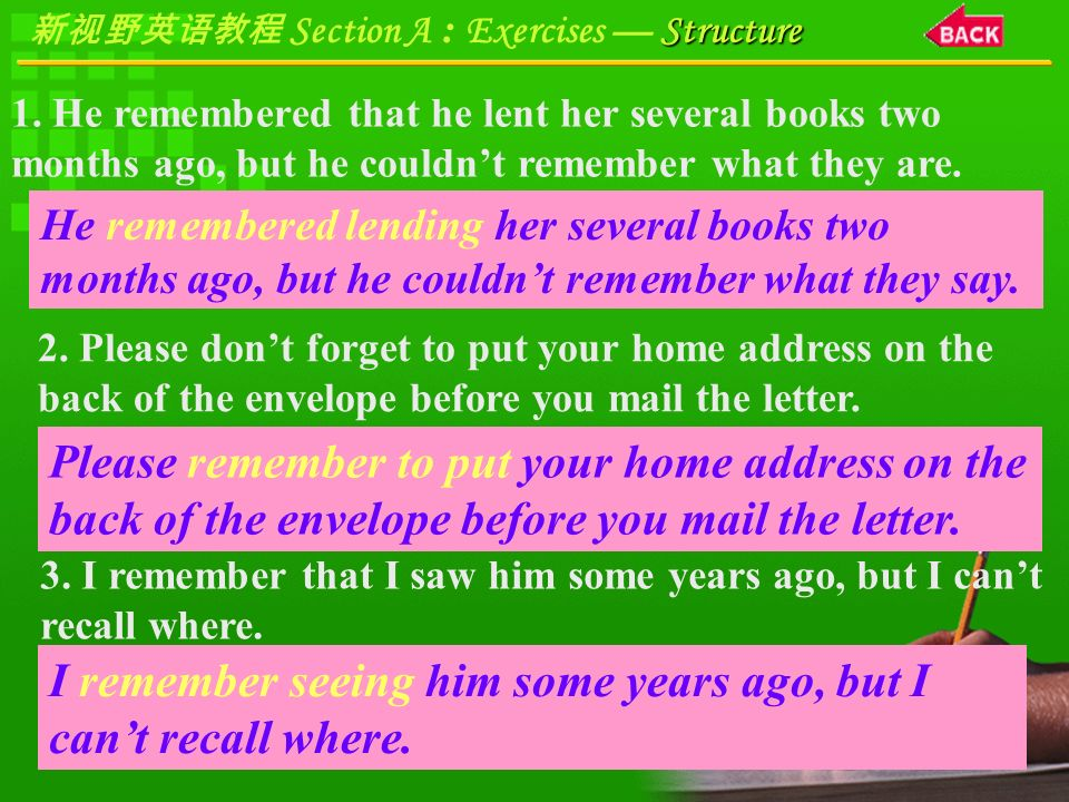 Structure 新视野英语教程 Section A : Exercises — Structure Focus on Sentence Structure B.