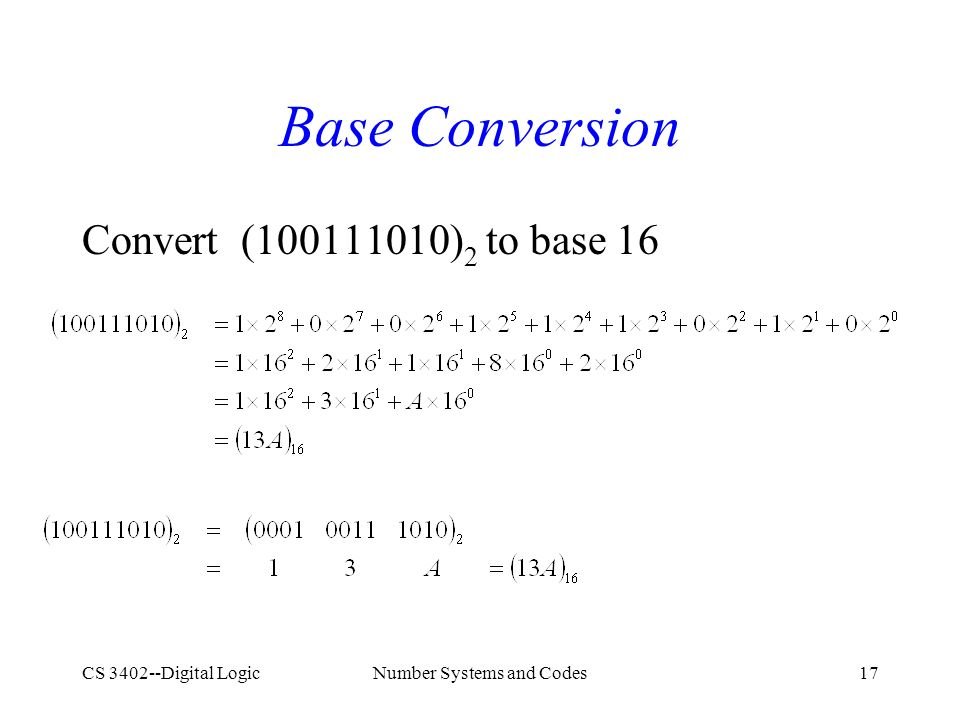 CS 3402--Digital LogicNumber Systems and Codes17 Base Conversion Convert (100111010) 2 to base 16