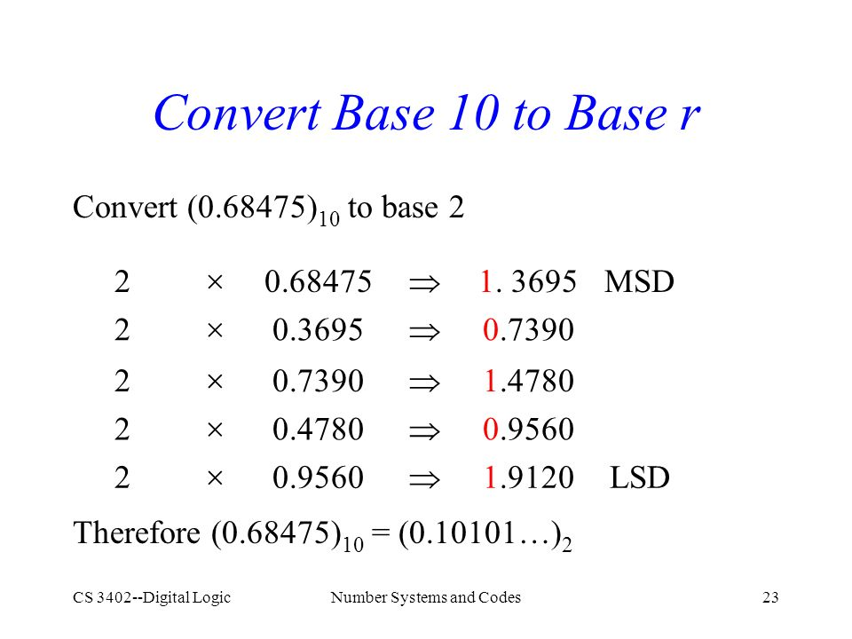 CS 3402--Digital LogicNumber Systems and Codes23 Convert Base 10 to Base r Convert (0.68475) 10 to base 2 Therefore (0.68475) 10 = (0.10101  ) 2 2  0.68475  1.