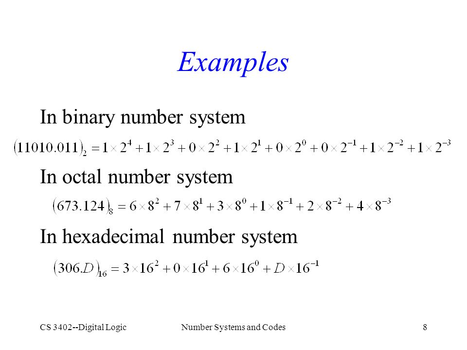 CS 3402--Digital LogicNumber Systems and Codes8 Examples In binary number system In octal number system In hexadecimal number system