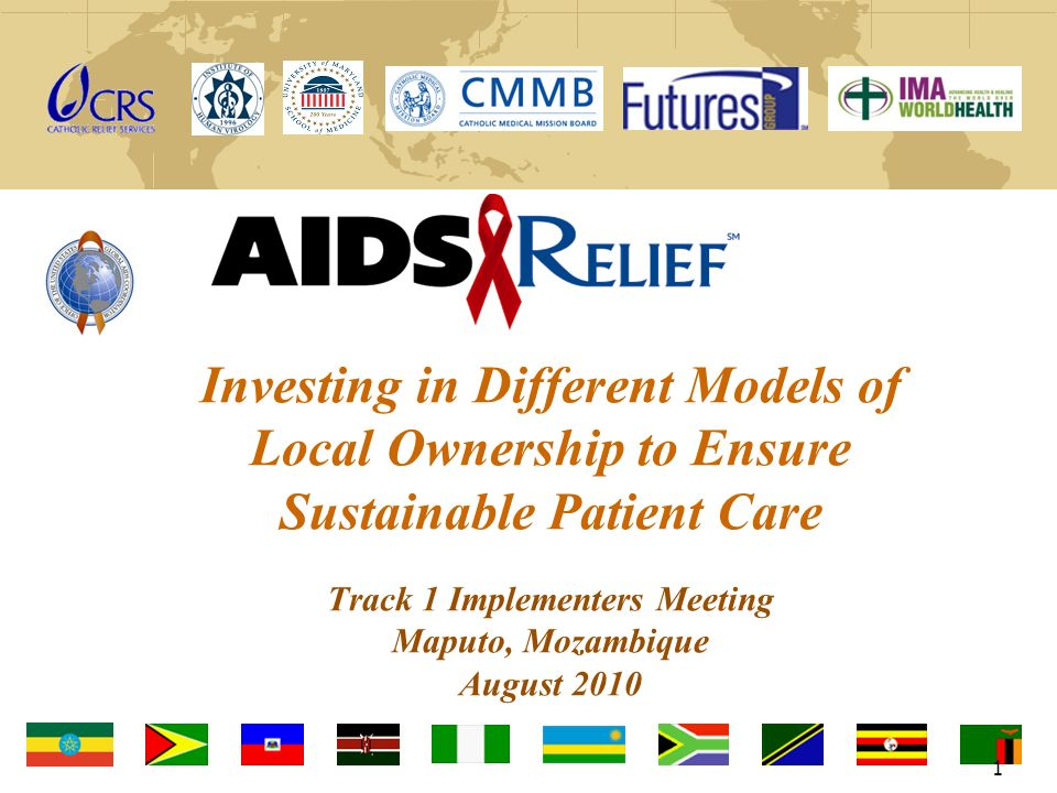 Investing in Different Models of Local Ownership to Ensure Sustainable Patient Care Track 1 Implementers Meeting Maputo, Mozambique August 2010 1