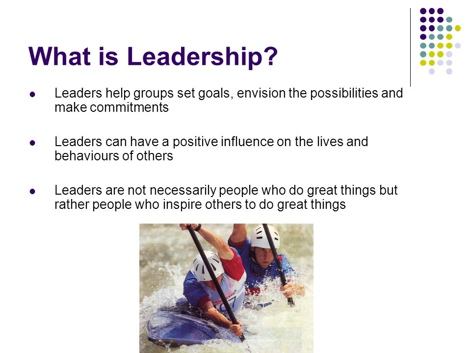 YMCA Definition of Leadership We measure the effectiveness of a leader not in terms of the leadership he exercises, but in terms of the leadership he evokes; not in terms of power over others, but in terms of the power released in others; not in terms of the goals she sets up and the direction she gives, but in terms of goals and plans of action others work out for themselves with her help; not in terms alone of products and projects completed, but in terms of growth of competence, sense of responsibility, and personal satisfaction among many participants
