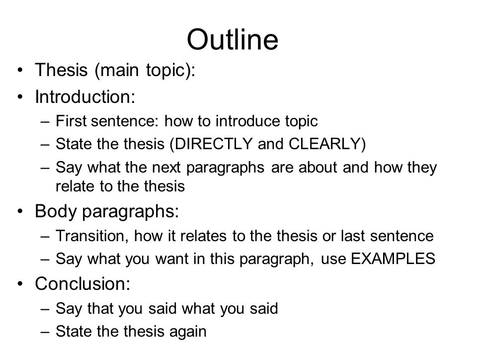thesis main body last Useful formulae for thesis statements the thesis statement has 3 main parts: in the same order in which they appear in the body of your paperhochstein.