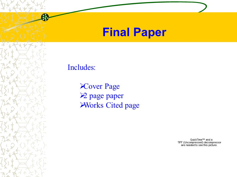 cover sheet for a paper