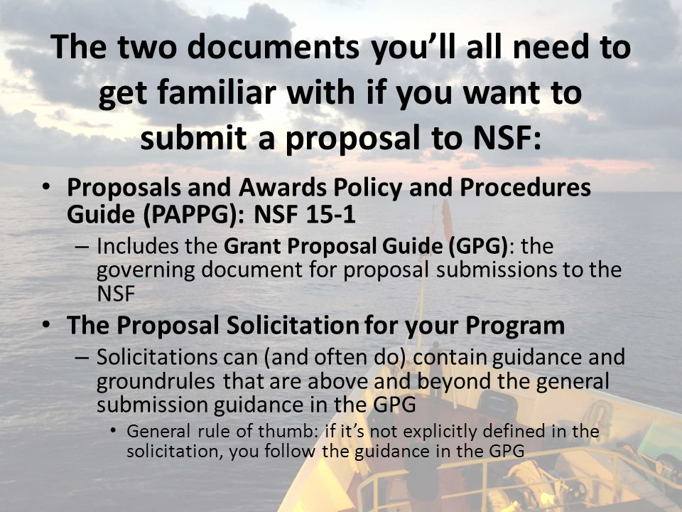 Nsf Core Documents And Online Resources For Proposal Preparation And