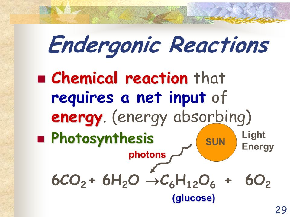 29 Endergonic Reactions Chemical reaction energy Chemical reaction that requires a net input of energy.
