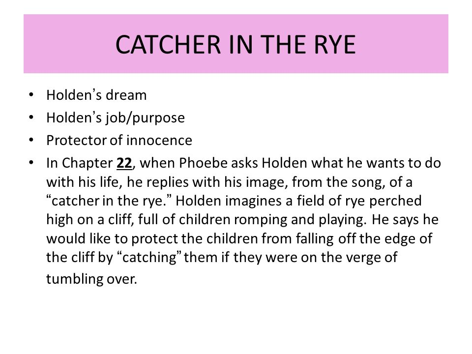 protector of innocence in the catcher in the rye by holden caulfield