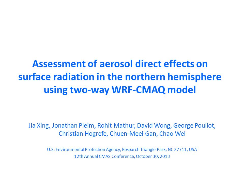Assessment Of Aerosol Direct Effects On Surface Radiation In The - Usa northern hemisphere