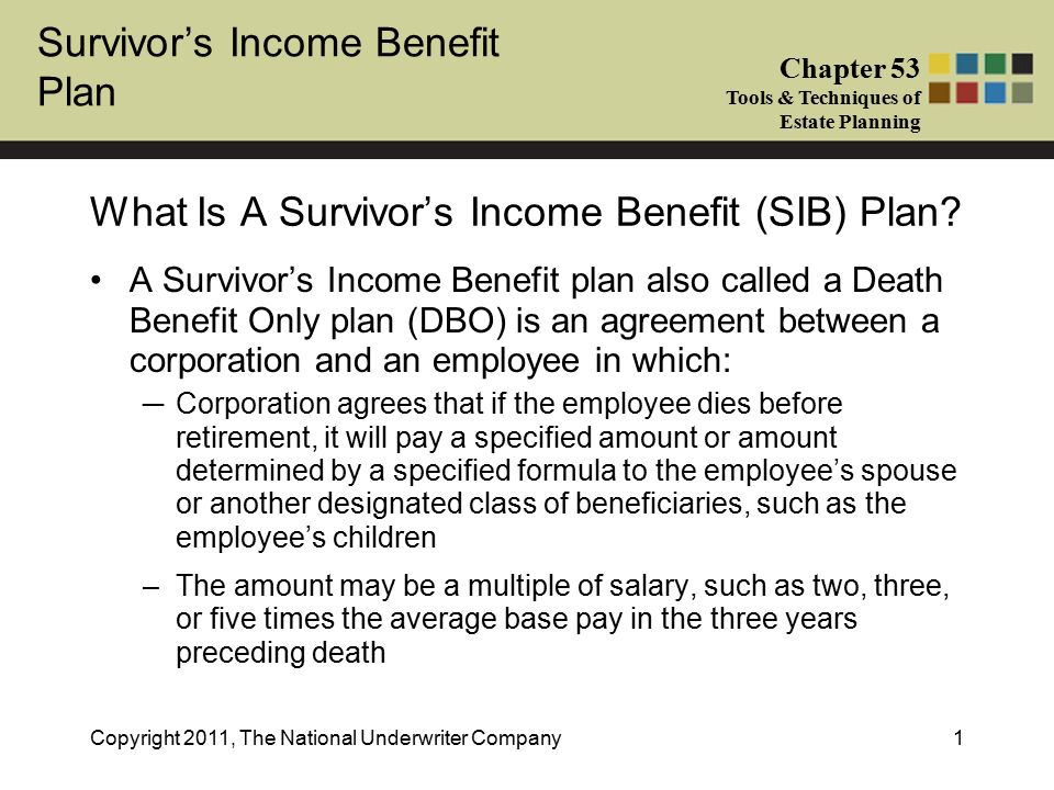 Survivors Income Benefit Plan Chapter 53 Tools Techniques Of