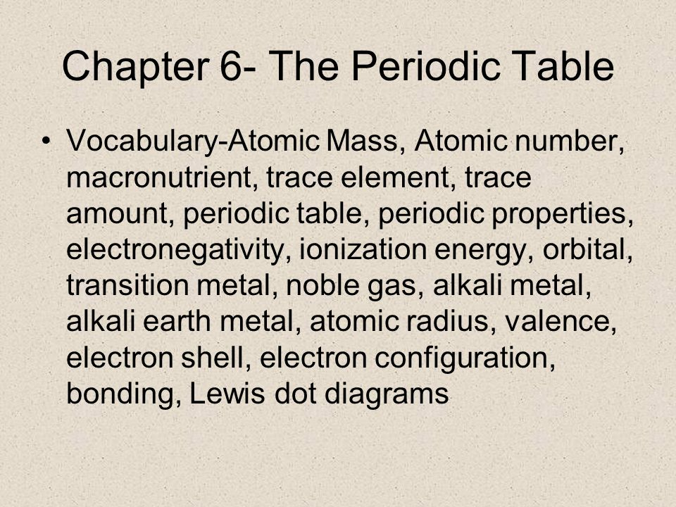 Chapter 6 the periodic table vocabulary atomic mass atomic number 1 chapter 6 the periodic table vocabulary atomic urtaz Gallery