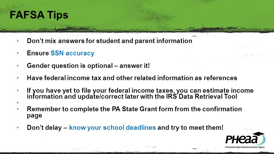 Fran McKeown Don't mix answers for student and parent information ...