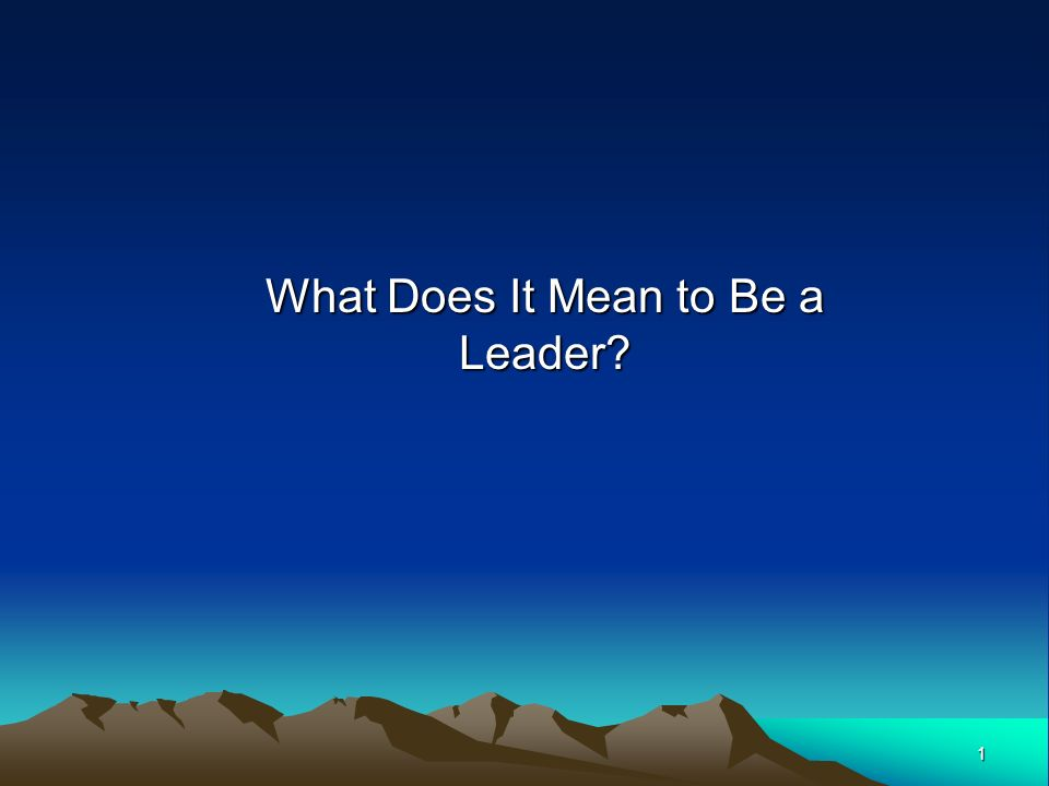1 What Does It Mean to Be a Leader?