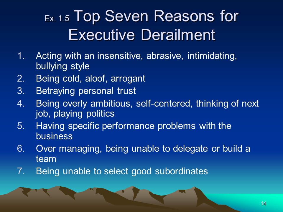 14 Ex. 1.5 Top Seven Reasons for Executive Derailment 1.Acting with an insensitive, abrasive, intimidating, bullying style 2.Being cold, aloof, arroga