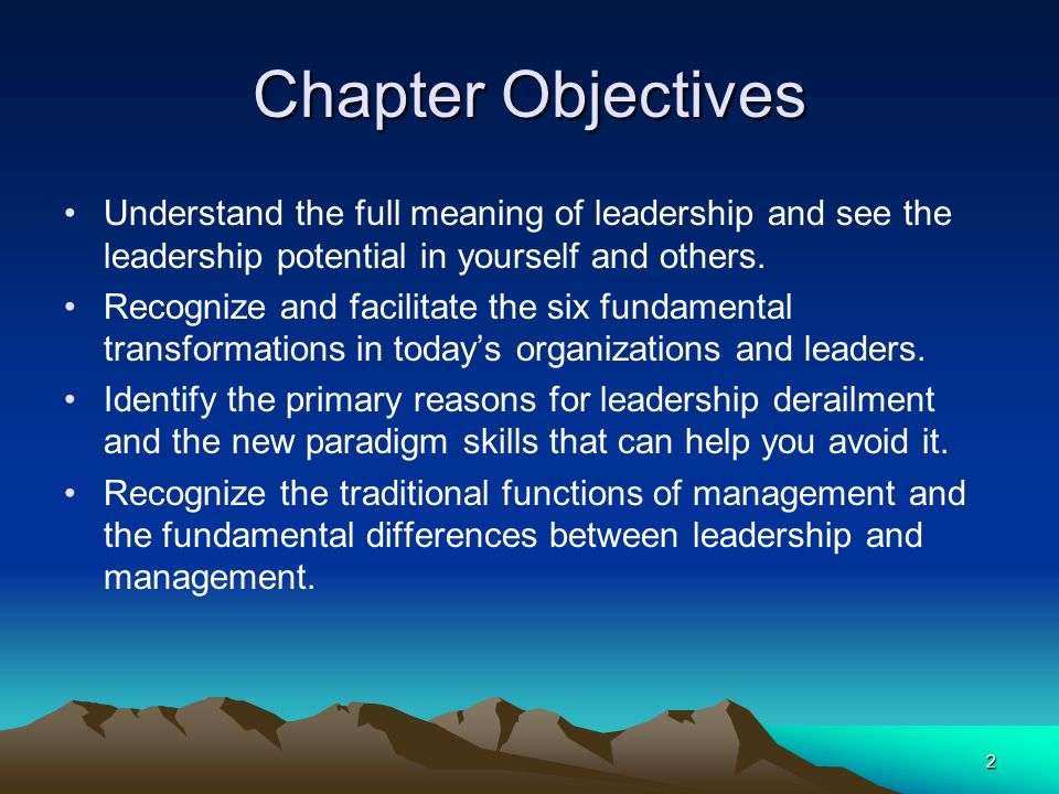 2 Chapter Objectives Understand the full meaning of leadership and see the leadership potential in yourself and others.