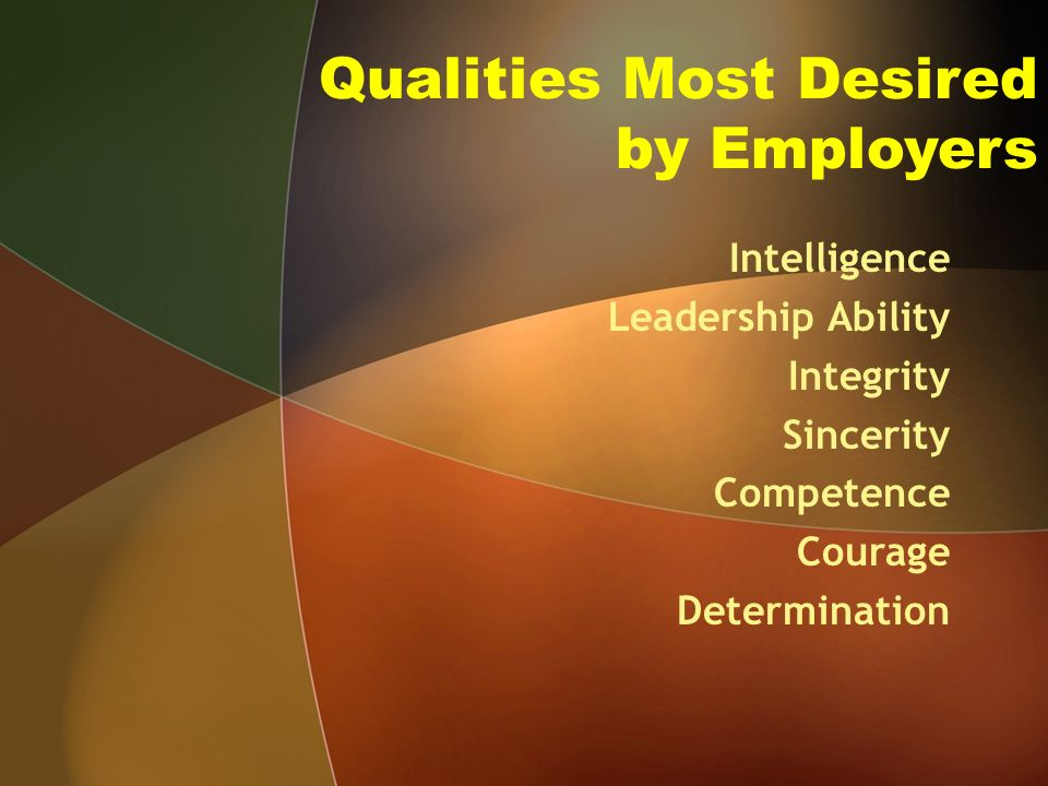Qualities Most Desired by Employers Intelligence Leadership Ability Integrity Sincerity Competence Courage Determination