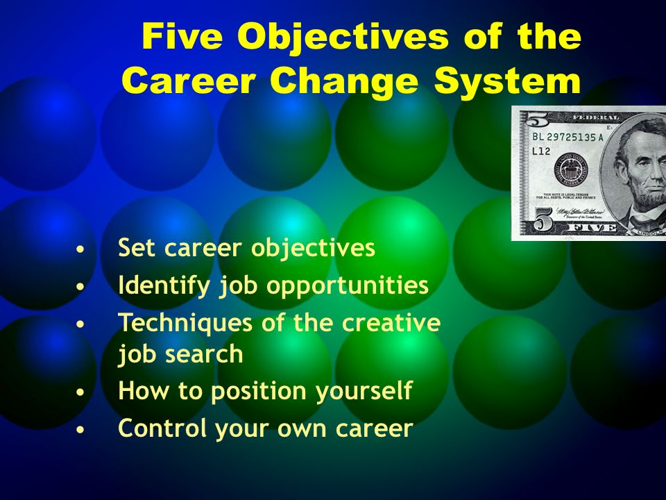 Five Objectives of the Career Change System Set career objectives Identify job opportunities Techniques of the creative job search How to position yourself Control your own career