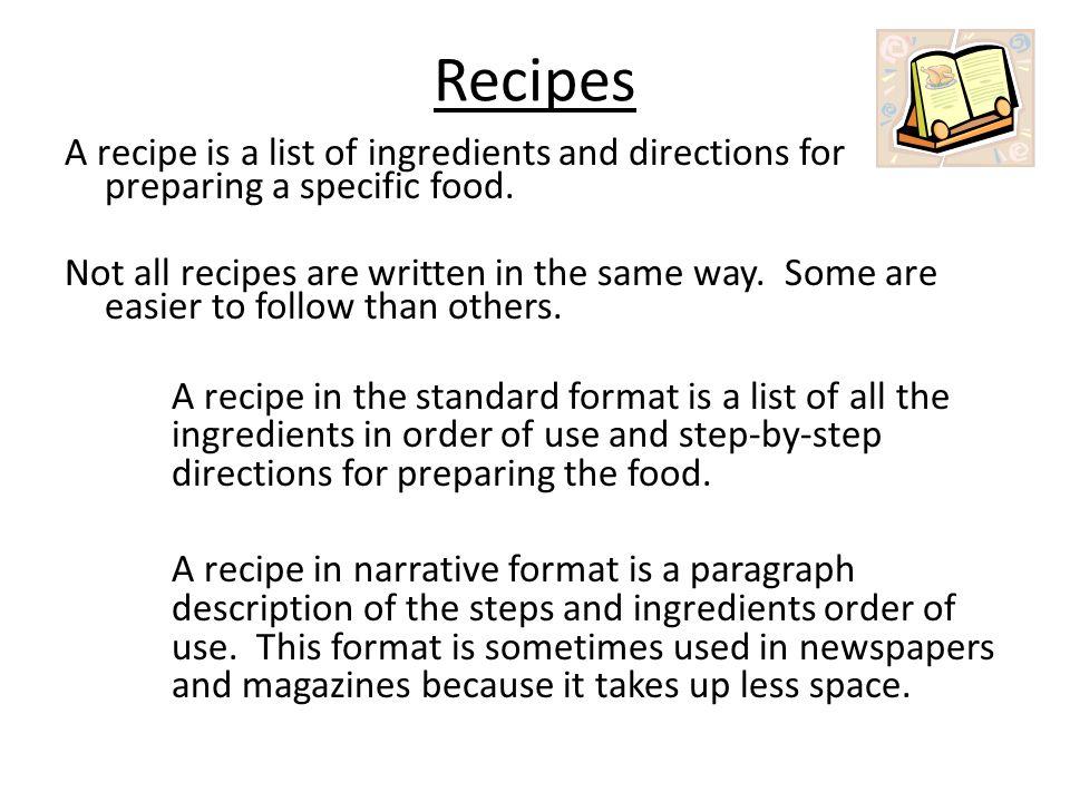 Narrative recipe format example
