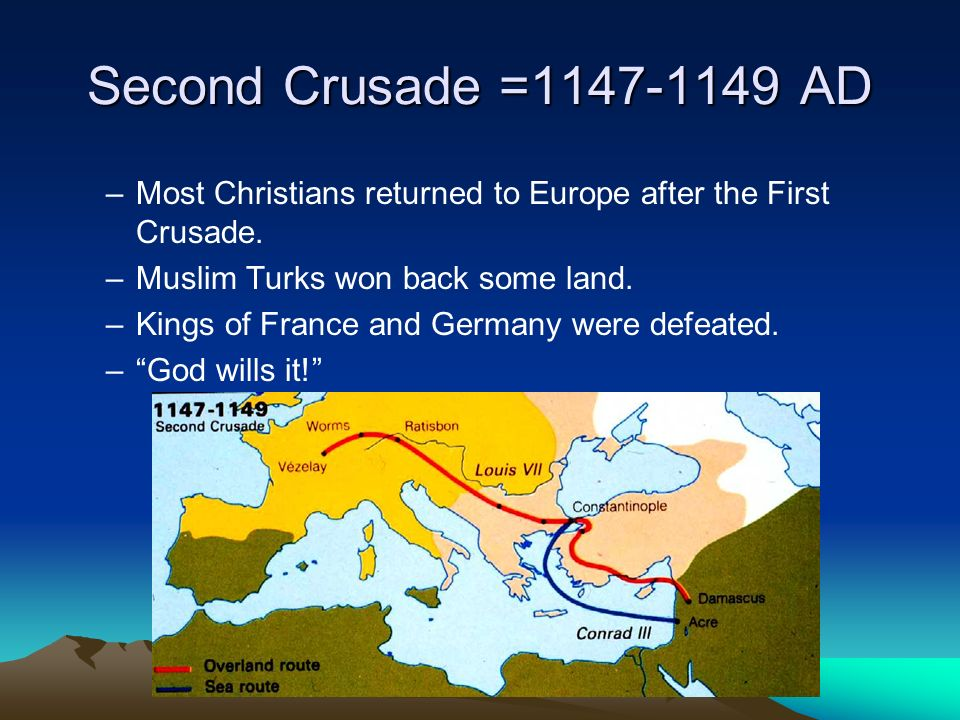 Second Crusade =1147-1149 AD –Most Christians returned to Europe after the First Crusade.