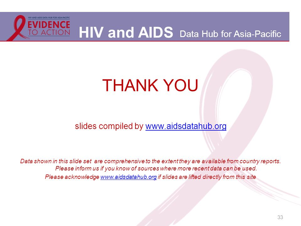 HIV and AIDS Data Hub for Asia-Pacific 33 THANK YOU slides compiled by www.aidsdatahub.orgwww.aidsdatahub.org Data shown in this slide set are comprehensive to the extent they are available from country reports.