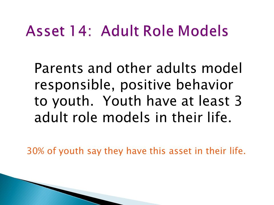 Parents and other adults model responsible, positive behavior to youth.
