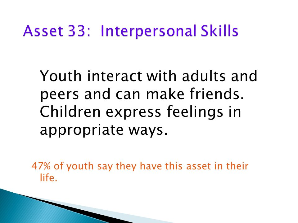 Youth interact with adults and peers and can make friends.