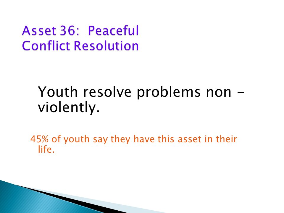 Youth resolve problems non - violently. 45% of youth say they have this asset in their life.