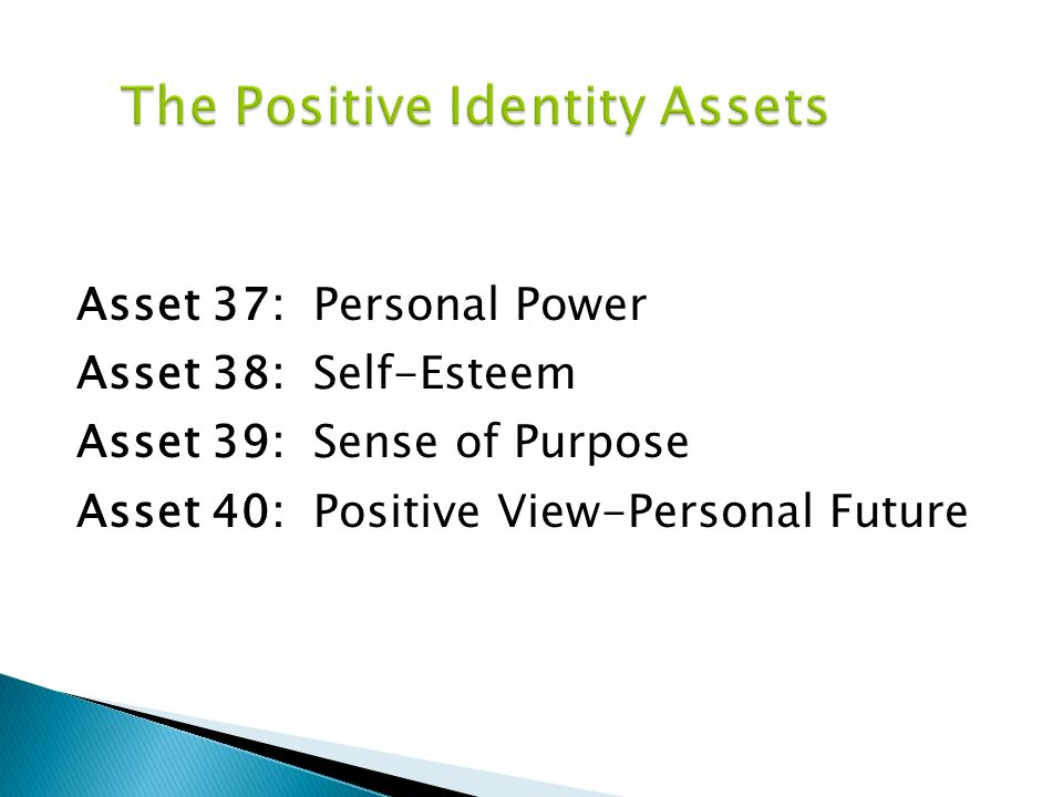 Asset 37: Personal Power Asset 38: Self-Esteem Asset 39: Sense of Purpose Asset 40: Positive View-Personal Future
