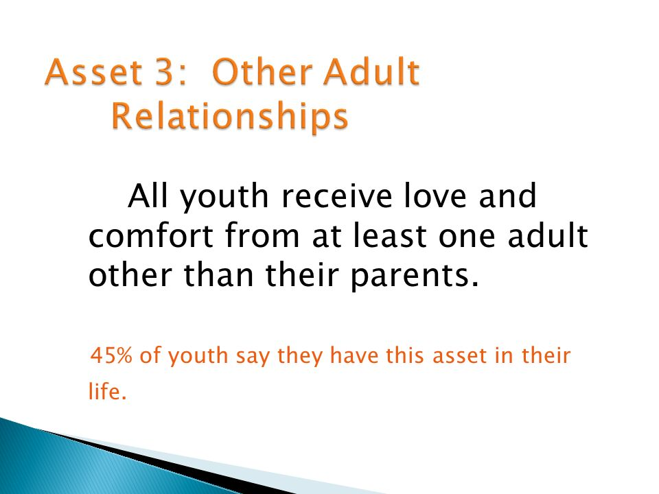 All youth receive love and comfort from at least one adult other than their parents.