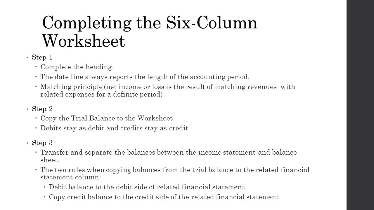 Chapter 5 Preparing Financial Statements Topic 1 Introducing the – Step 1 Worksheet