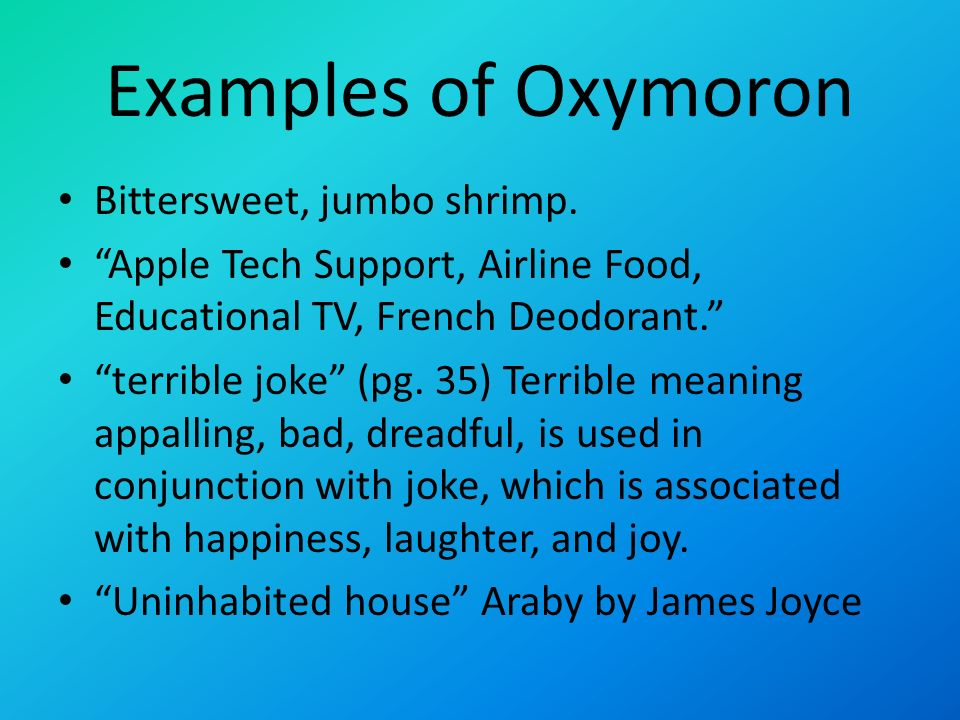 Definition Of Oxymoron And Examples Image Collections Example