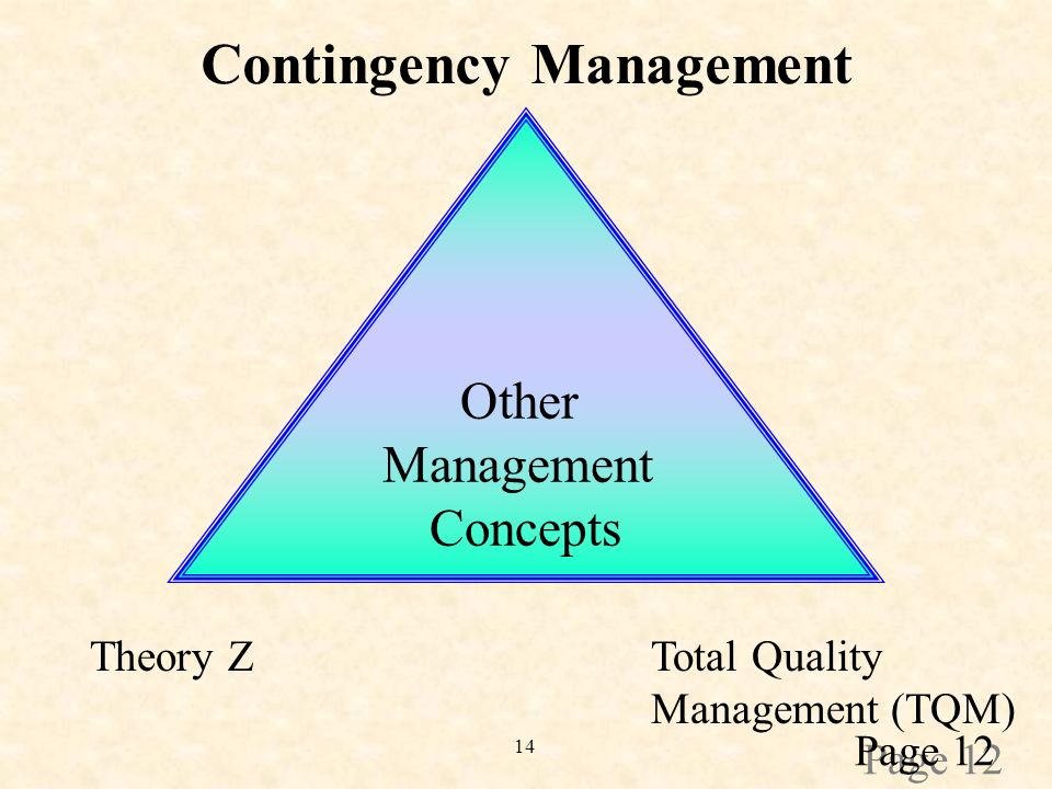 14 Other Management Concepts Contingency Management Total Quality Management (TQM) Theory Z Page 12