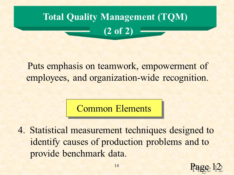 16 Total Quality Management (TQM) Puts emphasis on teamwork, empowerment of employees, and organization-wide recognition.