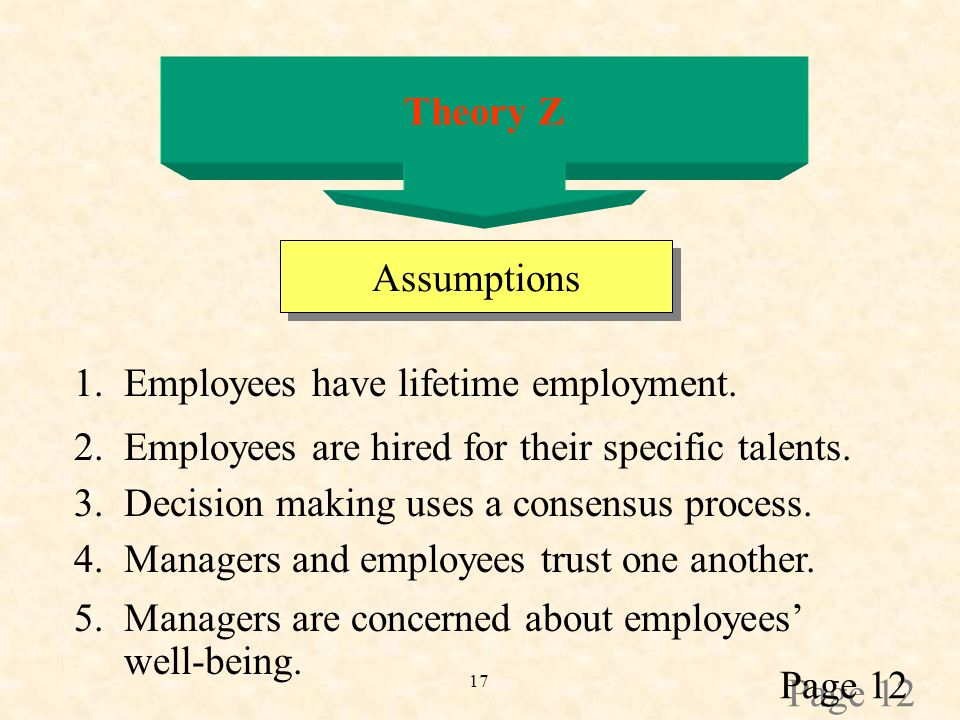 17 Theory Z Assumptions 1. Employees have lifetime employment.